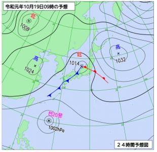 10月19日(土)9時の予想天気図