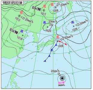 10月22日(火祝)15時の実況天気図
