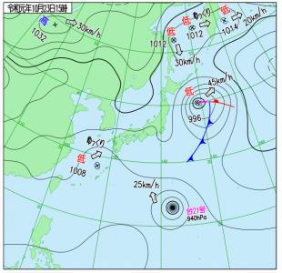 10月23日(水)15時の実況天気図