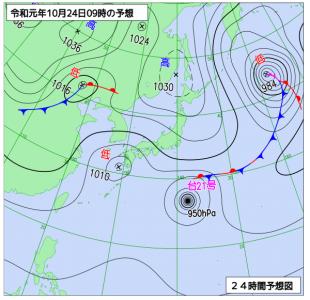 10月24日(木)9時の予想天気図