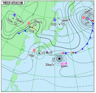 10月24日(木)15時の実況天気図