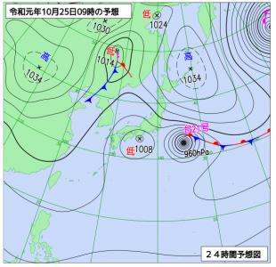 10月25日(金)9時の予想天気図