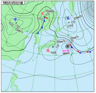 10月25日(金)15時の実況天気図