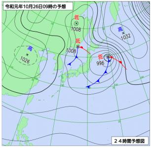 10月26日(土)9時の予想天気図