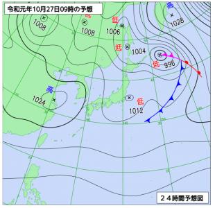 10月27日(日)9時の予想天気図