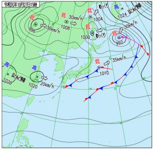 10月27日(日)15時の実況天気図