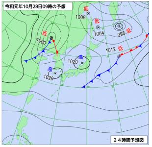 10月28日(月)9時の予想天気図