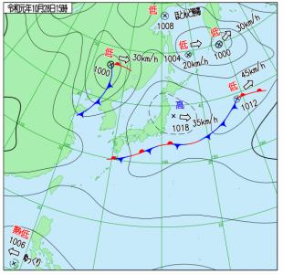 10月28日(月)15時の実況天気図