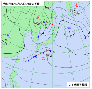 10月29日(火)9時の予想天気図