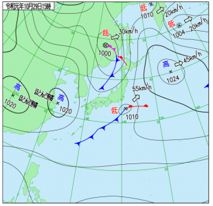 10月29日(火)15時の実況天気図
