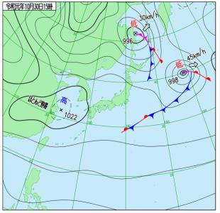 10月30日(水)15時の実況天気図