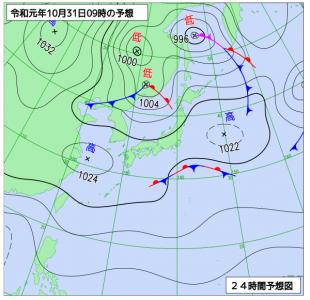 10月31日(木)9時の予想天気図