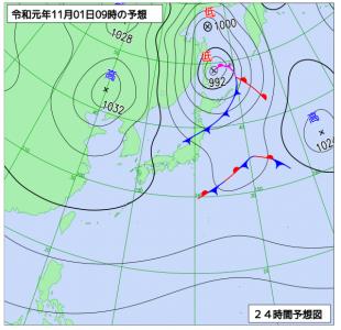 11月1日(金)9時の予想天気図