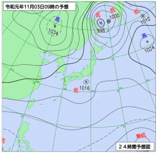 11月3日(日祝)9時の予想天気図