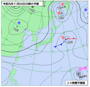 11月4日(月振)9時の予想天気図