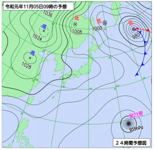 11月5日(火)9時の予想天気図
