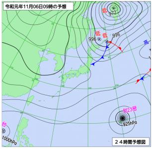 11月6日(水)9時の予想天気図