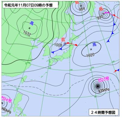 11月7日(木)9時の予想天気図