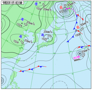 11月8日(金)15時の実況天気図