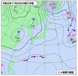 11月9日(土)9時の予想天気図