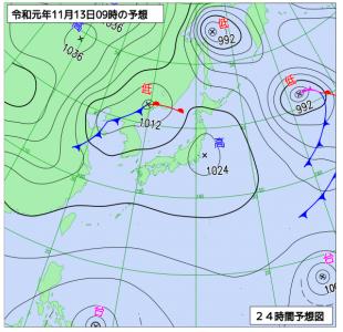 11月13日(水)9時の予想天気図