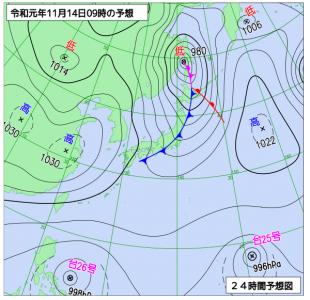 11月14日(木)9時の予想天気図