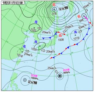 11月15日(金)15時の実況天気図