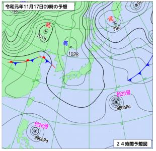 11月17日(日)9時の予想天気図