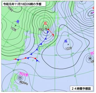 11月18日(月)9時の予想天気図