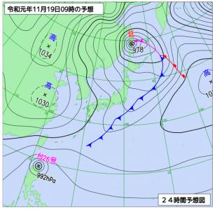 11月19日(火)9時の予想天気図