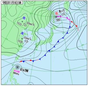 11月19日(火)15時の実況天気図
