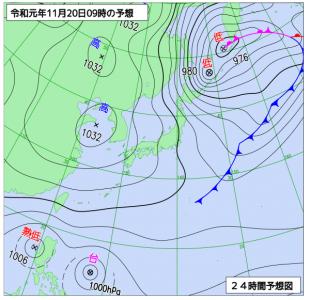 11月20日(水)9時の予想天気図