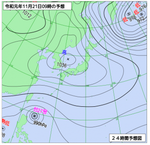 11月21日(木)9時の予想天気図