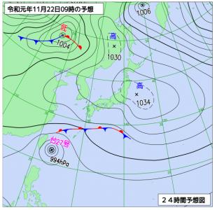 11月22日(金)9時の予想天気図
