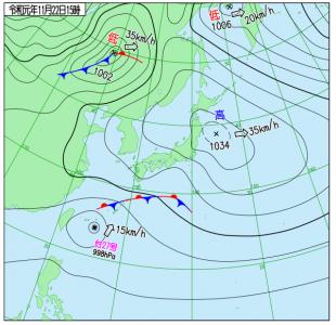 11月22日(金)15時の実況天気図