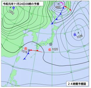 11月24日(日)9時の予想天気図