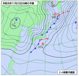 11月25日(月)9時の予想天気図