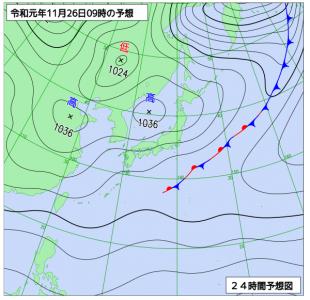 11月26日(火)9時の予想天気図