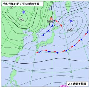 11月27日(水)9時の予想天気図