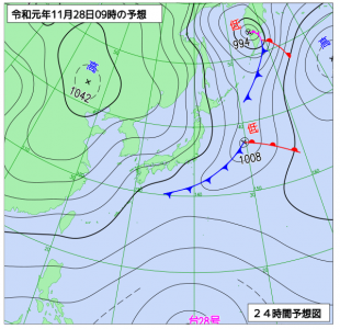 11月28日(木)9時の予想天気図