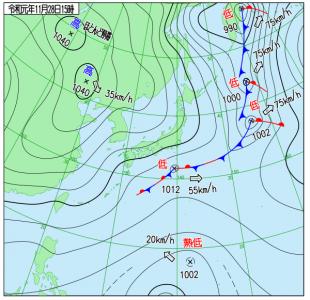11月28日(木)15時の実況天気図