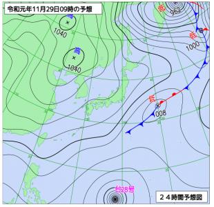 11月29日(金)9時の予想天気図