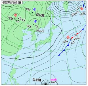11月29日(金)15時の実況天気図
