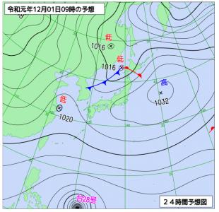 12月1日(日)9時の予想天気図