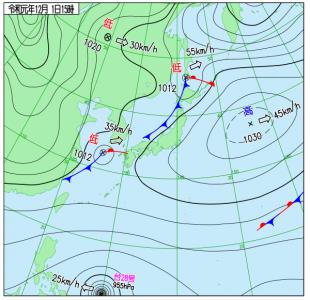 12月1日(日)15時の実況天気図