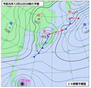12月2日(月)9時の予想天気図