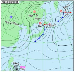 12月2日(月)15時の実況天気図