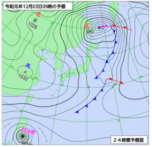 12月3日(火)9時の予想天気図