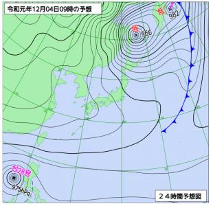 12月4日(水)9時の予想天気図
