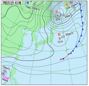 12月4日(水)15時の実況天気図
